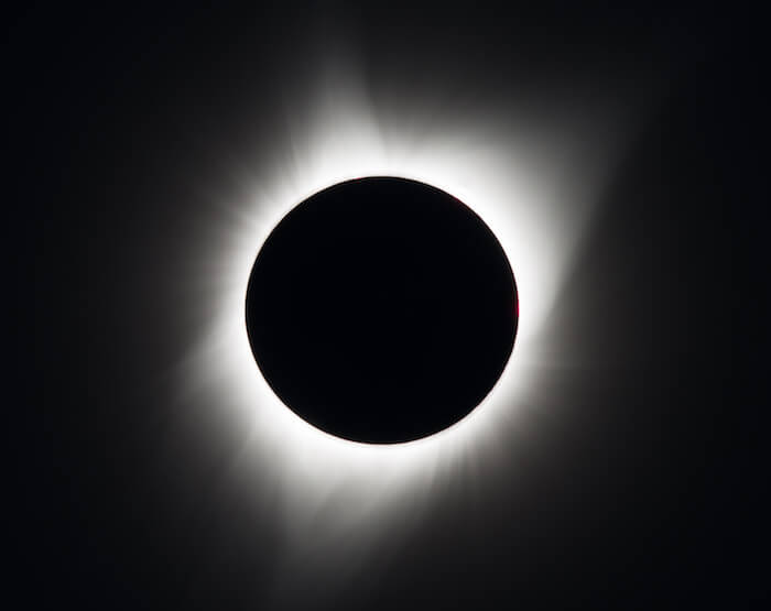 Image of the solar corona during a total solar eclipse on Monday, August 21, 2017 above Madras, Oregon. Credit: NASA/Aubrey Gemignani