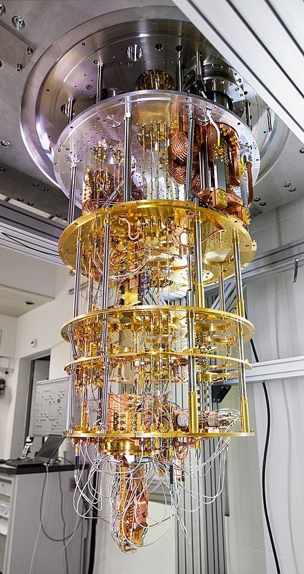 Quantum computer based on superconducting qubits developed by IBM Research in Zürich, Switzerland.